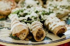 Dorados de los tacos, flautas de pollo, tacos de pollo y comida mexicana hecha en casa de la salsa picante en M?xico foto de archivo libre de regalías
