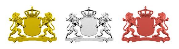 Dorato, argento ed insegne del leone del bronzo Fotografia Stock Libera da Diritti
