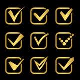 Dorato confermi le icone di vettore dei segni della raccolta illustrazione di stock