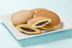 Dorayaki, Japanese Pancakes Filled with Sweet Bean Paste Stock Photo