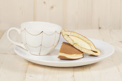 Dorayaki, Japanese Sweet  Pancakes on Wooden Stock Photo