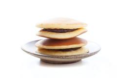 Dorayaki on white background, Japanese red bean pancake Stock Images