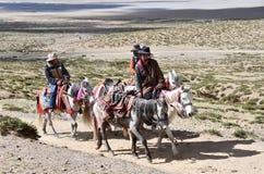 Dorchen, Θιβέτ, Κίνα, 18 Ιουνίου, 2018 Mann με ένα άλογο που κάνει το parikrama γύρω από Kailas στο Θιβέτ στοκ εικόνες