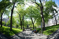 Dorchester Square. Warm spring day in Dorchester park in downtown Montreal,Quebec,Canada Stock Photos