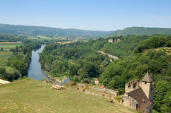 Dordogne from Chateau Beynac. Dordogne river from the parapet of Chateau de Beynac stock photography