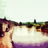 Dordogne. Digital painting of a town in the Dordogne, France vector illustration