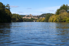 Dordogne River and Beynac-et-Cazenac, France Royalty Free Stock Photo