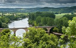 Dordogne river and bridge Royalty Free Stock Photo
