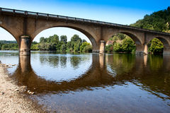Dordogne River Bridge. The road bridge crossing the Dordogne near the village of Bigaroque in the Perigord region of Southern France Royalty Free Stock Image
