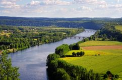 Dordogne river, Cingle de Tremolat point Stock Photos