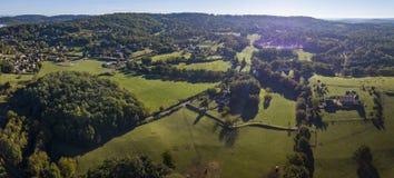 Dordogne river valley seen from Domme in spring in Dordogne, France stock images