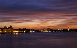 Dordrecht after sunset. Spectacular sunset above the skylines from Dordrecht and Zwijndrecht Royalty Free Stock Images