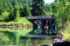 Dorena Reservoir bridge. Dorena Reservoir on a still morning near Cottage Grove Oregon USA America Stock Images
