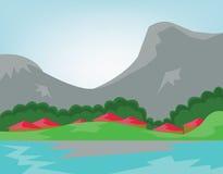 Dorf über dem Fluss mit Wald und Bergen vektor abbildung