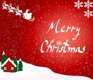 Dorf über roter Weihnachtskarte Stockfoto