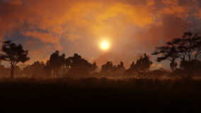 Dorf am Abend Stockfoto