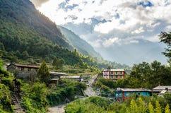 Dorf auf der Annapurna-Wanderung Stockfotos
