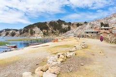 Dorf auf der Insel des Sun, Titicaca See, Bolivien Stockbild