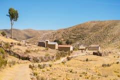 Dorf auf der Insel des Sun, Titicaca See, Bolivien Stockbilder
