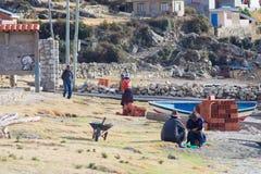 Dorf auf der Insel des Sun, Titicaca See, Bolivien Lizenzfreies Stockbild