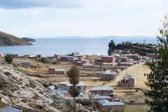 Dorf auf der Insel des Sun, Titicaca See, Bolivien Stockfotografie