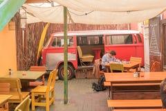 Dorf-Café, ein Restaurant in Swakopmund Stockfotografie