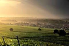 Dorf in den Weinbergen Stockfotos