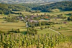 Dorf in der grünen natürlichen Landschaft Lizenzfreies Stockbild