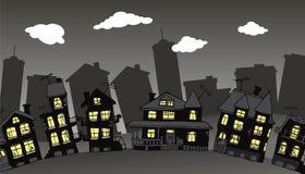Dorf in der Nacht Lizenzfreie Stockfotos