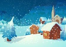 Dorf in der Nacht stock abbildung
