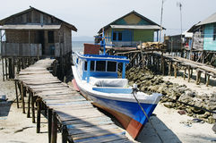 Dorf des Fischers in Bandar Lampung, Indonesien Lizenzfreie Stockfotografie