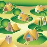 Dorf in einem Wald Stockfotos