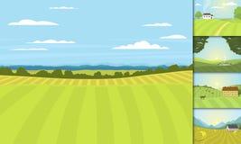 Dorf gestaltet Vektorillustrationsgutshauslandwirtschafts-Grafiklandschaft landschaftlich lizenzfreie abbildung