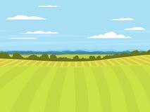 Dorf gestaltet Vektorillustrationsgutshauslandwirtschafts-Grafiklandschaft landschaftlich stock abbildung