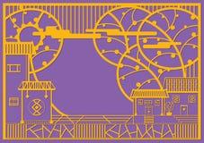 Dorf-Grafikdesign in der zeitgenössischen Art Stockbild