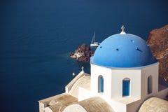Dorf Griechenlands, Santorini-Insel, Oia, weiße Architektur Stockbilder