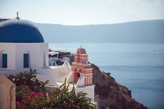 Dorf Griechenlands, Santorini-Insel, Oia, weiße Architektur Stockfoto