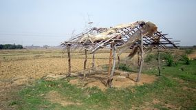 Dorf-Hütte neben Feldindien Stockfoto