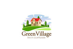 Dorf-Haus-Logo Real Estate-Designvektor Stockfotos