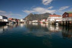 Dorf Henningsvaer, Norwegen Stockfotografie