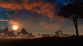 Dorf im Fantasie-Sonnenuntergang Lizenzfreie Stockfotos