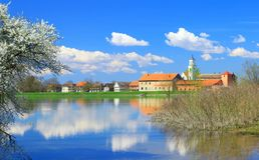 Dorf im Frühjahr Stockfotografie