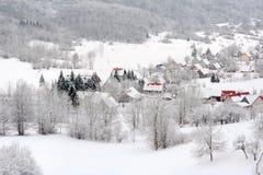 Dorf im Winter Stockbild