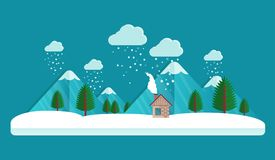 Dorf im Winter Wolken im Himmel Schneefälle in der Luft Haus und Berg Dieses ist Datei des Formats EPS10 Flache Art Lizenzfreies Stockbild