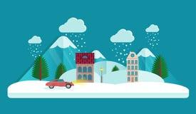 Dorf im Winter Wolken im Himmel Schneefälle in der Luft Haus und Berg Dieses ist Datei des Formats EPS10 Flache Art Stockbilder