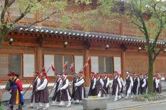 Dorf Jeonjus Hanok, Südkorea - 09 11 2018: Parade im tradi lizenzfreies stockfoto