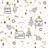 Dorf-Kirche der weißen Weihnacht lizenzfreie abbildung