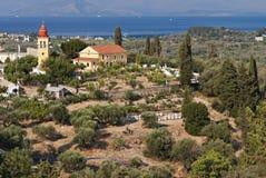 Dorf in Korfu-Insel in Griechenland Lizenzfreies Stockfoto