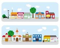 Dorf-Main Street -Nachbarschafts-Vektor Illustrati Lizenzfreie Stockfotografie