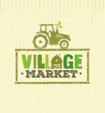 Dorf-Markt-raues Stempel-Vektor-Konzept Lokale Lebensmittel-Zeichen-Illustration auf Kraftpapier-Hintergrund vektor abbildung